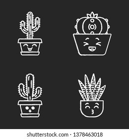 Cactuses chalk icons set. Laughing Saguaro and peyote cactuses. Kissing zebra home cacti. Hushed elephant cactus. Succulent plants. Botanical garden. Isolated vector chalkboard illustrations