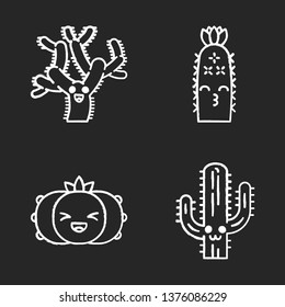 Cactuses chalk icons set. Plants with smiling faces. Laughing peyote cactus, teddy bear cholla. Kissing hedgehog wild cacti. Succulent plants. Isolated vector chalkboard illustrations