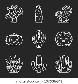Cactuses chalk icons set. Plants with smiling faces. Laughing barrel, zebra and peyote cactuses. Succulent plants. Kissing hedgehog wild cacti. Isolated vector chalkboard illustrations