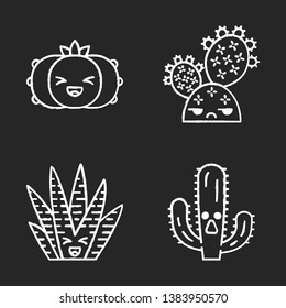 Cactuses chalk icons set. Plants with smiling faces. Laughing peyote and zebra cactuses. Unamused prickly pear wild cacti. Botanical garden. Succulent plants. Isolated vector chalkboard illustrations