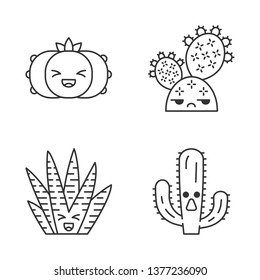 Cactuses cute kawaii linear characters. Plants with smiling faces. Laughing peyote and zebra cactuses. Unamused prickly pear. Thin line icon set. Vector isolated outline illustration. Editable stroke