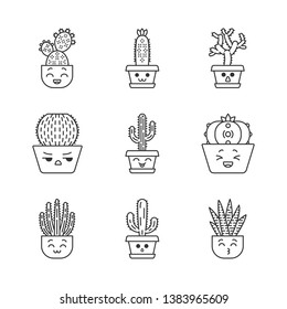 Cactuses cute kawaii linear characters. Plants with smiling faces. Laughing Saguaro and peyote cactus. Home cacti in pots. Thin line icon set. Vector isolated outline illustration. Editable stroke