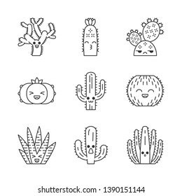 Cactuses cute kawaii linear characters. Plants with smiling face. Laughing barrel and peyote cactuses. Kissing hedgehog cacti. Thin line icon set. Vector isolated outline illustration. Editable stroke