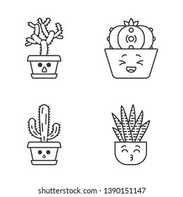 Cactuses cute kawaii linear characters. Hushed elephant cacti. Laughing peyote cactus with sad face. Kissing zebra home cacti. Thin line icon set. Vector isolated outline illustration. Editable stroke