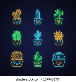 Cactuses cute kawaii neon light characters. Plant with smiling face. Kissing zebra cacti in pot. Funny emoji, emoticon set. Glowing icons with alphabet, numbers, symbols. Vector isolated illustration