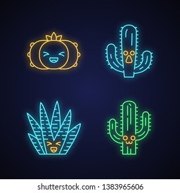 Cactuses cute kawaii neon light characters. Plants with smiling faces. Laughing peyote cacti. Funny emoji, emoticon set. Glowing icons with alphabet, numbers, symbols. Vector isolated illustration