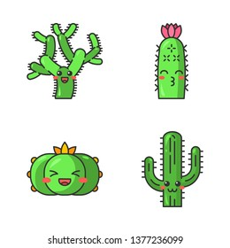Cactuses cute kawaii vector characters. Plants with smiling face. Laughing peyote cactus, teddy bear cholla. Kissing hedgehog wild cacti. Funny emoji, emoticon set. Isolated cartoon color illustration