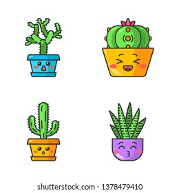 Cactuses cute kawaii vector characters. Plants with sad faces. Hushed elephant cacti. Laughing peyote cactus. Kissing zebra home cacti. Funny emoji, emoticon set. Isolated cartoon color illustration