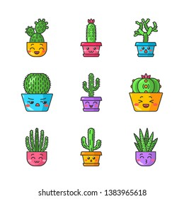 Cactuses cute kawaii vector characters. Plants with smiling faces. Laughing Saguaro, peyote cactus. Kissing zebra cacti in pots. Funny emoji, emoticon set. Isolated cartoon color illustration
