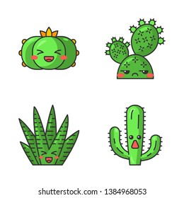 Cactuses cute kawaii vector characters. Plants with smiling faces. Laughing peyote and zebra cactuses. Unamused prickly pear wild cacti. Funny emoji, emoticon set. Isolated cartoon color illustration