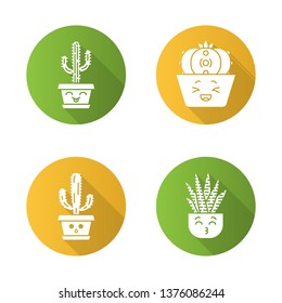 Cactuses flat design long shadow glyph icons set. Laughing Saguaro and peyote cactuses. Kissing zebra home cacti. Hushed elephant cactus. Botanical garden. Succulents. Vector silhouette illustration