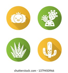 Cactuses flat design long shadow glyph icons set. Plants with smiling faces. Laughing peyote and zebra cactuses. Unamused prickly pear wild cacti. Succulent plants. Vector silhouette illustration