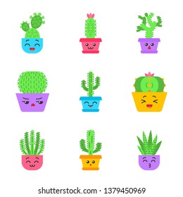 Cactuses flat design long shadow color icons set. Plants with smiling faces. Laughing Saguaro and peyote cactus. Kissing zebra cacti in pot. Succulent plants. Vector silhouette illustrations