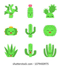 Cactuses flat design long shadow color icons set. Plants with smiling faces. Laughing barrel and peyote cactuses. Kissing hedgehog wild cacti. Succulent plants. Vector silhouette illustrations