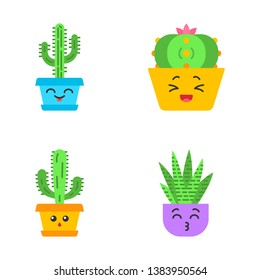 Cactuses flat design long shadow color icons set. Laughing Saguaro and peyote cactuses. Kissing zebra cacti. Hushed elephant cactus. Botanical garden. Succulent plants. Vector silhouette illustrations