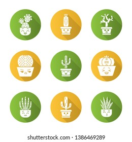 Cactuses flat design long shadow glyph icons set. Plants with smiling faces. Laughing Saguaro and peyote cactus. Kissing zebra cacti. Home cacti in pots. Succulents. Vector silhouette illustration