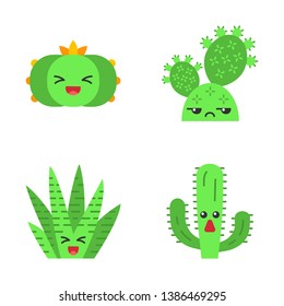 Cactuses flat design long shadow color icons set. Plants with smiling faces. Laughing peyote and zebra cactuses. Unamused prickly pear wild cacti. Succulent plants. Vector silhouette illustrations