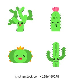 Cactuses flat design long shadow color icons set. Plants with smiling faces. Laughing peyote cactus, teddy bear cholla. Kissing hedgehog wild cacti. Succulent plants. Vector silhouette illustrations