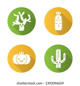 Cactuses flat design long shadow glyph icons set. Plants with smiling faces. Laughing peyote cactus, teddy bear cholla. Kissing hedgehog wild cacti. Succulent plants. Vector silhouette illustration