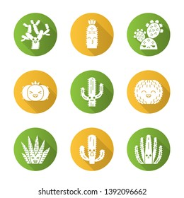 Cactuses flat design long shadow glyph icons set. Plants with smiling faces. Laughing barrel and peyote cactuses. Kissing hedgehog wild cacti. Succulent plants. Vector silhouette illustration