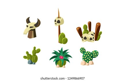 Cactuses, human and buffalo skulls set, design elements of desert landscape, wild west objects vector Illustration on a white background