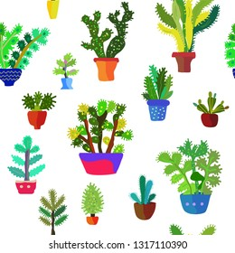 Cactuses seamless pattern, detailed design. Vector graphic illustration