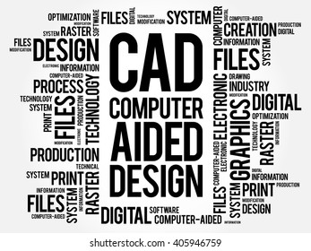 CAD - Computer Aided Design word cloud, business concept background