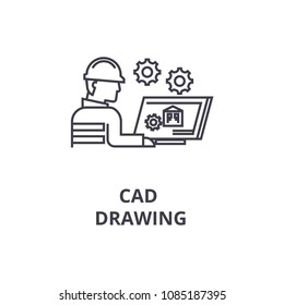 cad drawing vector line icon, sign, illustration on background, editable strokes