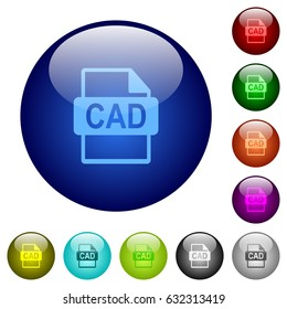 CAD file format icons on round color glass buttons