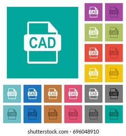 CAD file format multi colored flat icons on plain square backgrounds. Included white and darker icon variations for hover or active effects.