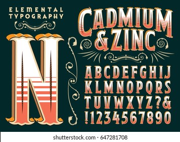 Cadmium & Zinc is an original type design and 3d treatment. This file includes all capitals, numerals, some punctuation, and several beautiful design elements.