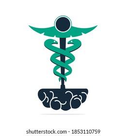Caduceus Brain medical logo vector design. Brain Medical concept vector template design.