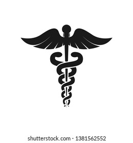 Caduceus health symbol Asclepius Wand icon black color. Caduceus black isolated vector icon.