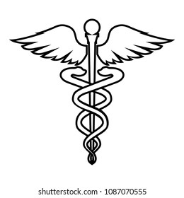 Caduceus health symbol Asclepius's Wand icon black color outline