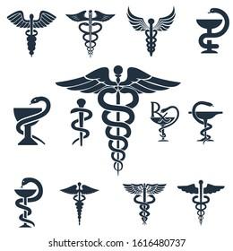 Caduceus Logo. Medical Symbol. Healthy Icon set