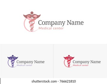 Caduceus, medical center logo, woman's consultation, gynecology center, gynecology, pregnancy, gynecology consultation