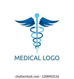 Caduceus - medical center, pharmacy, hospital with popular symbol of medicine - vector logo template