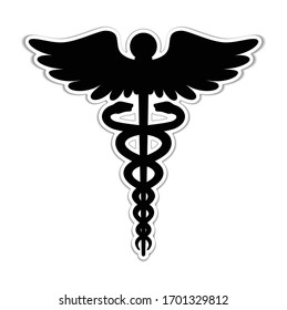 Caduceus Medical Icon/ emblem in paper cut style