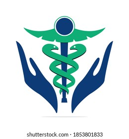 Caduceus medical logo vector design.  Medical concept vector template design.
