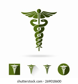 Caduceus - medical sign in different modern flat styles. Vector