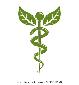 Caduceus medical symbol, graphic vector emblem for use in healthcare. Phytotherapy metaphor.
