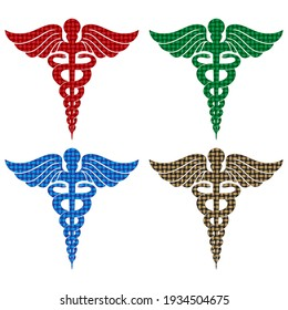 Caduceus Medical Symbol. Medical Health Care Sign Vector Illustration. Caduceus Sign Isolated On White Background