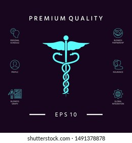Caduceus medical symbol icon. Graphic elements for your design