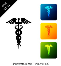 Caduceus medical symbol icon on white background. Medicine and health care concept. Emblem for drugstore or medicine, pharmacy snake symbol. Set icons colorful square buttons. Vector Illustration