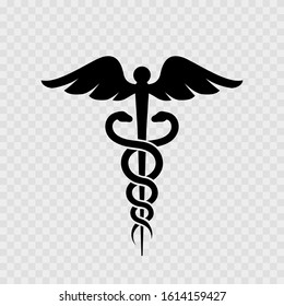 Caduceus medical symbol. Medical logo with snake. Isolated. Vector