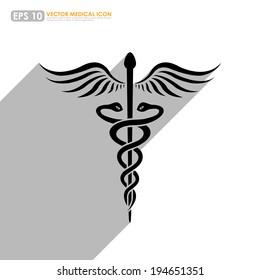Caduceus - medical symbol - on white background