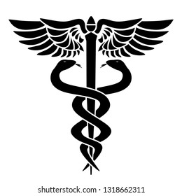 Caduceus medical symbol, with two snakes, staff and wings, vector illustration