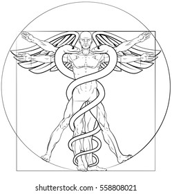 Caduceus medical symbol Vitruvian man concept with figure like Leonard Da Vinci anatomy drawing