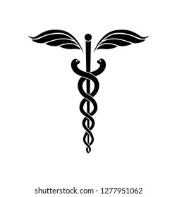 Caduceus or Rod of Asclepius . Medical symbol