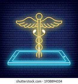 Caduceus with Smartphone neon Icon. Concept for Healthcare Medicine and Lifestyle. Outline Virtual Doctor. Medical Symbol, Icon and Badge. Simple Vector illustration on dark brickwork.